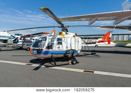 BERLIN GERMANY - JUNE 02 2016: Research helicopter Eurocopter MBB Bo105 by German Aerospace Center (DLR). Exhibition ILA Berlin Air Show 2016