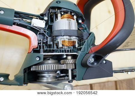 the eccentric grinder in a section internal details are visible