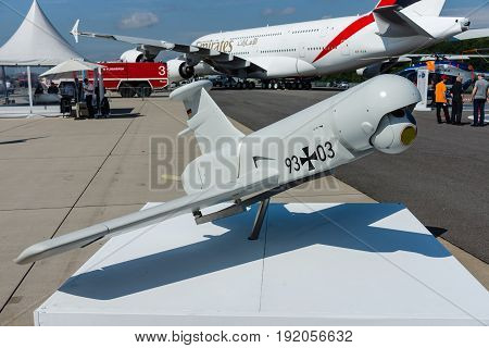 BERLIN GERMANY - JUNE 02 2016: Rheinmetall KZO - an unmanned aerial vehicle (UAV) with stealth characteristics manufactured by Airbus Defence and Space. Exhibition ILA Berlin Air Show 2016