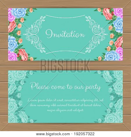 Floral invitation or greeting card template. Vector Illustration in retro style