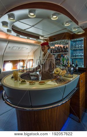 BERLIN GERMANY - JUNE 02 2016: The bar for the passengers the first and business class of the world's largest aircraft Airbus A380. Emirates Airline. Exhibition ILA Berlin Air Show 2016