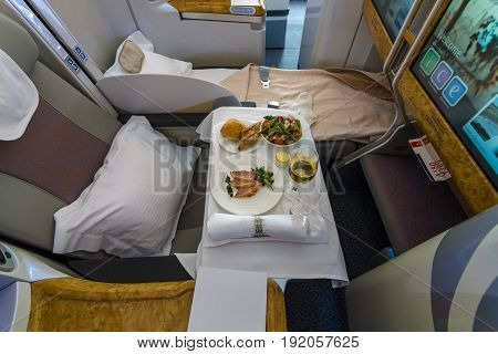 BERLIN GERMANY - JUNE 02 2016: Passenger's menu of business class of the world's largest aircraft Airbus A380. Emirates Airline. Exhibition ILA Berlin Air Show 2016