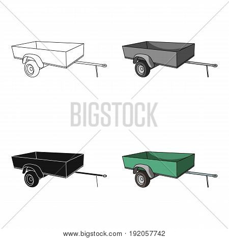 Trailer with sides for the car.Car single icon in cartoon style vector symbol stock illustration .