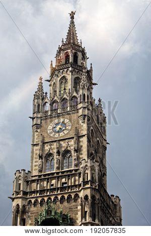 Town Hall clock tower Marienplatz Munich Germany