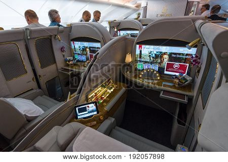 BERLIN GERMANY - JUNE 02 2016: Interior of first class of the world's largest aircraft Airbus A380. Emirates Airline. Exhibition ILA Berlin Air Show 2016