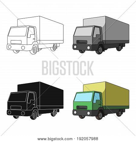 Truck with awning.Car single icon in cartoon style vector symbol stock illustration .