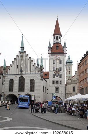 Munich Germany - May 29 2012: The Old Town Hall on the Central square of Munich and building 15th century. Munich Germany.