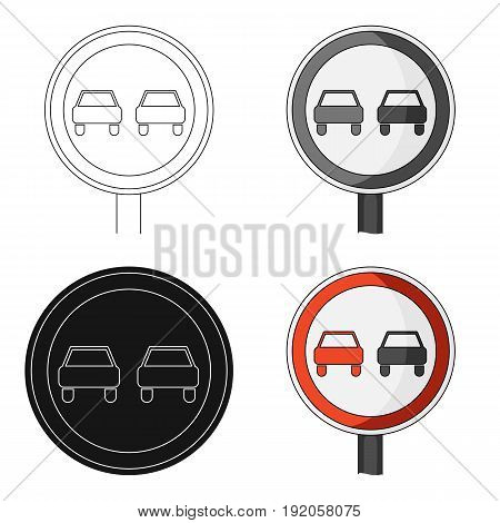 Road sign overtaking is prohibited .Car single icon in cartoon style vector symbol stock illustration .