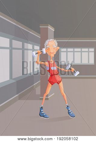 An elderly gray-haired man doing exercise with dumbbells in the gym. Active lifestyle and sport activities in old age. Vector illustration.