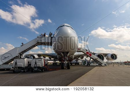 BERLIN GERMANY - JUNE 02 2016: The largest passenger airliner in the world Airbus A380-800. Emirates Airline. Exhibition ILA Berlin Air Show 2016