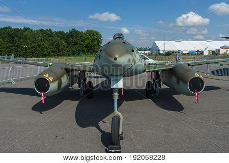 BERLIN GERMANY - JUNE 02 2016: Fighter aircraft Messerschmitt Me 262 B-1a
