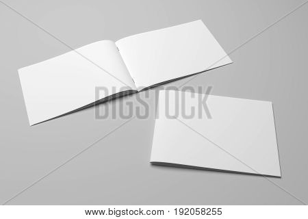 Blank 3D rendering landscape brochure magazine isolated on gray background, with clipping path. Composition No. 10