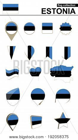 Estonia Flag Collection. Big Set For Design.
