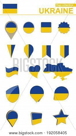 Ukraine Flag Collection. Big Set For Design.