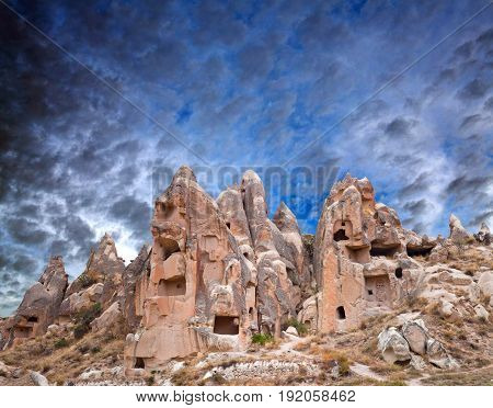 Panorama of geological formations in Cappadocia, Turkey