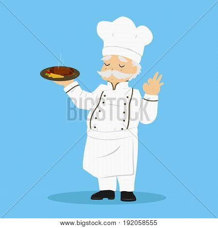 a chef carrying a plate of delicious steak and gestured ok sign