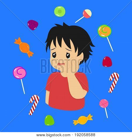 a boy has a toothache because he ate too much candies
