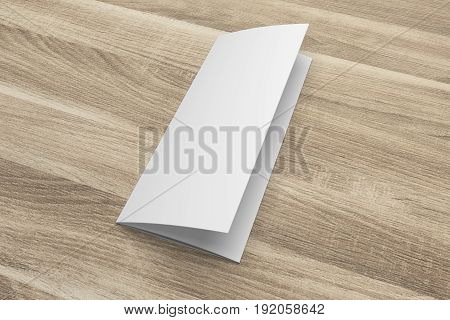 Blank opened 3D rendering tri-fold brochure mock-up with clipping path. Template on wood texture background. Composition No. 3