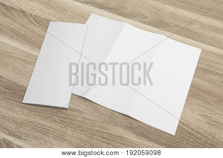 Blank opened 3D rendering tri-fold brochure mock-up with clipping path. Template on wood texture background. Composition No. 6
