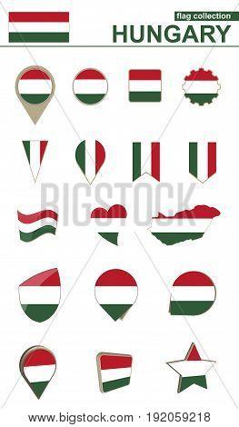 Hungary Flag Collection. Big Set For Design.