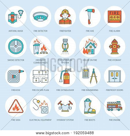 Firefighting, fire safety equipment flat line icons. Firefighter, fire engine extinguisher, smoke detector, house, danger signs, firehose. Flame protection thin linear colored pictogram.