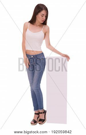 Asian woman holding blank poster isolated on white backround