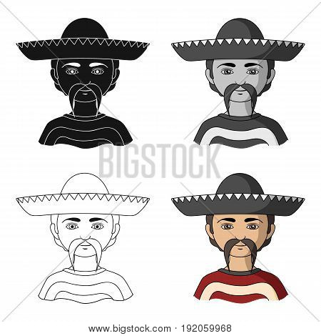 Mexican.Human race single icon in cartoon style vector symbol stock illustration .