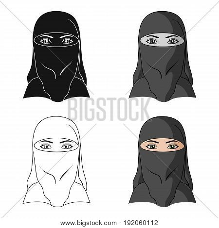 A woman from the Middle East.Human race single icon in cartoon style vector symbol stock illustration .