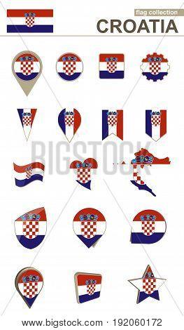 Croatia Flag Collection. Big Set For Design.
