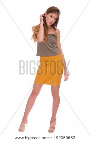 Beautiful woman posing isolated on a light background