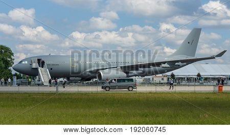 BERLIN GERMANY - JUNE 02 2016: Aerial refuelling and transport Airbus A330 MRTT (Multi Role Tanker Transport). Airbus Defence & Space SAS. Exhibition ILA Berlin Air Show 2016