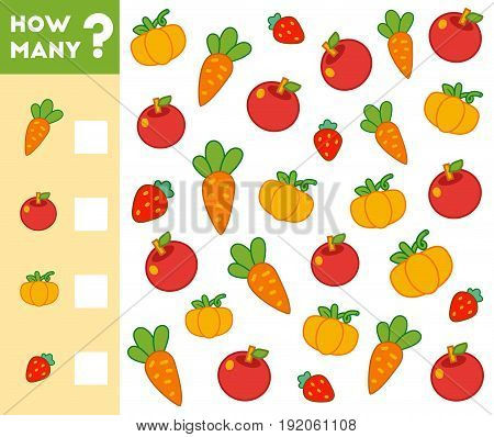 Counting Game For Children. Count How Many Fruits, Vegetables And Write The Result!