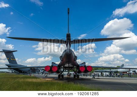 BERLIN GERMANY - JUNE 02 2016: A four-engine supersonic variable-sweep wing jet-powered heavy strategic bomber Rockwell B-1B Lancer. US Air Force. Rear view. Exhibition ILA Berlin Air Show 2016
