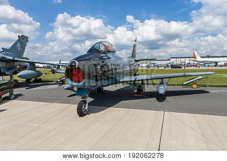 BERLIN GERMANY - JUNE 02 2016: Jet fighter aircraft Canadair CL-13A Sabre 5. German Air Force (Luftwaffe). Exhibition ILA Berlin Air Show 2016