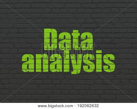 Data concept: Painted green text Data Analysis on Black Brick wall background