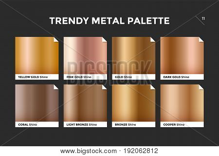 Gold gradient template. Collection palette of gold metallic gradient swatches with gloss for backgrounds, textures. Set of realistic gold metallic palettes, vector icons. Vector Illustration