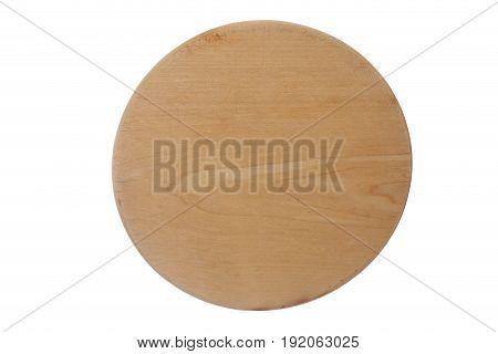 round wooden notice board on white background