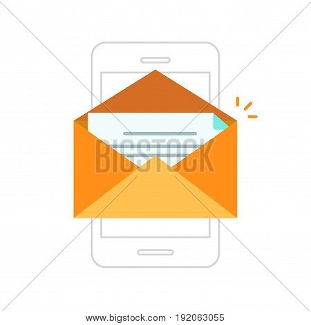 Email notification on line outline style mobile phone, orange color envelope with new message received on smartphone, electronic letter icon flat style