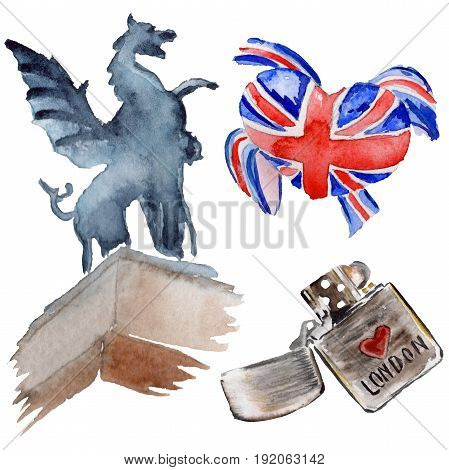 Watercolor London illustration. Great Britain hand drawn symbols. Aquarelle elements for background, texture, wrapper pattern.