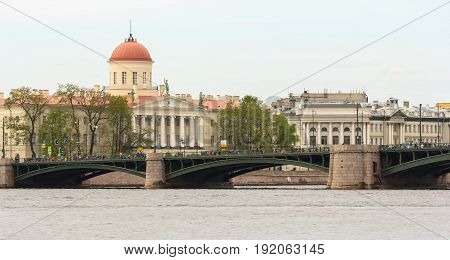 St. Petersburg Russia - 28 May, Exchange bridge across the Neva,28 May, 2017. Famous sightseeing places of St. Petersburg for tourists.