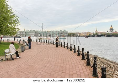St. Petersburg Russia - 28 May, Semi-circular embankment of the Hare Island,28 May, 2017. Famous sightseeing places of St. Petersburg for tourists.