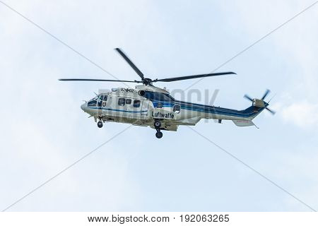 "BERLIN GERMANY - JUNE 02 2016: Medium utility helicopter Eurocopter AS532U2 ""Cougar"