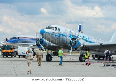 BERLIN GERMANY - JUNE 02 2016: Soviet aircraft Lisunov Li-2 Hungarian airline