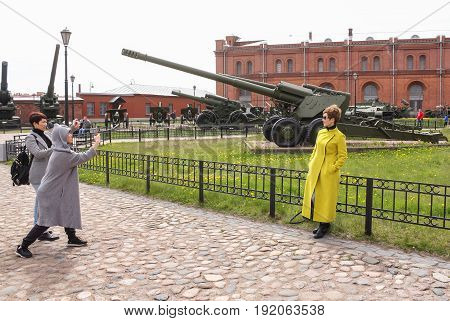 St. Petersburg Russia - 28 May, People are photographed from military equipment,28 May, 2017. Military History Museum of combat equipment in St. Petersburg.
