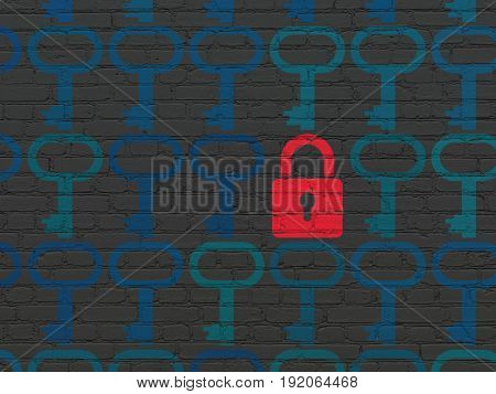 Security concept: rows of Painted blue key icons around red closed padlock icon on Black Brick wall background
