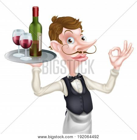 A cartoon waiter holding a silver tray with a bottle of wine and wine glasses full of wine on it doing a perfect hand sign