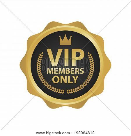 Vip Members Only premium golden badges. Gold round label vector illustration.