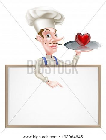 An illustration of a cartoon chef holding a tray with a heart icon on it  and pointing at a signboard
