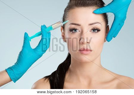 Beautiful Woman Getting Face Injection