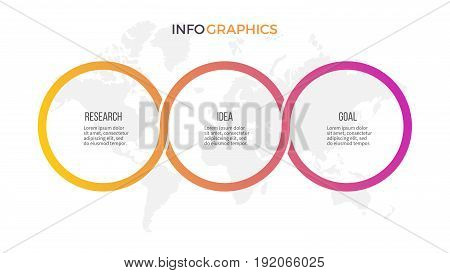 Business infographics. Presentation with 3 options, circles. Vector template.